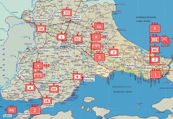 Η κατανομή των Τουρκικών Δυνάμεων στον Εβρο κρίνεται ισορροπημένη και εις βάθος