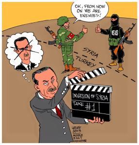 Γελοιογραφία που σατυρίζει την ξαφνική στροφή κατά της ISIS