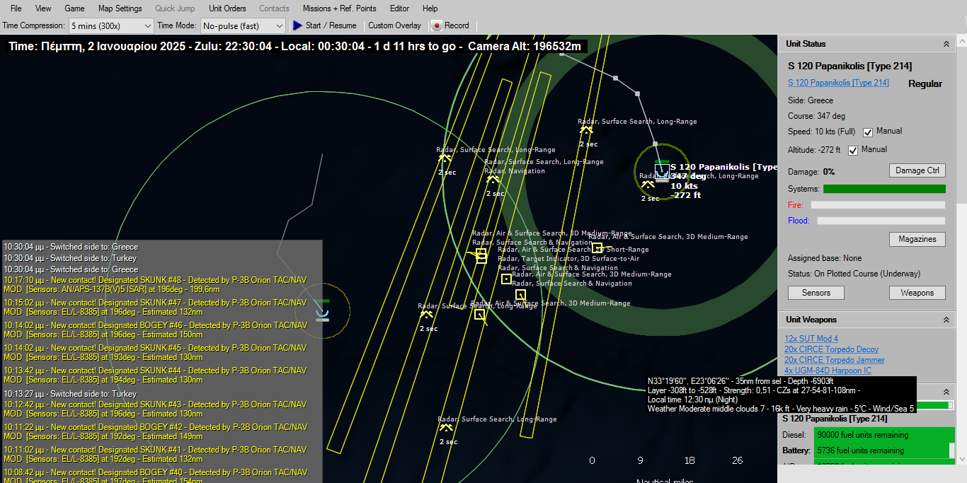 Παρόλο που το ραντάρ της Παλαιόχωρας στις 12:30 δεν εξέπεμψε, η λήψη εικόνας από το σύστημα συλλογής ηλεκτρονικών υπογραφών ESM/ELINT EL/L 8385 των εκσυγχρονισμένων P-3B GR αποτύπωνε τόσο τα ελικόπτερα που δρούσαν στην περιοχή όσο και τις μονάδες επιφανείας που δρούσαν σε ρόλο AAW. To τελευταίο σύστημα είναι ένα παθητικό σύστημα και έχει εμβέλεια που φθάνει αρκετές εκατοντάδες ναυτικά μίλια.