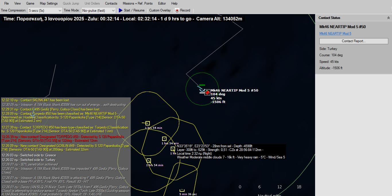 Αμέσως μετά ανθυποβρυχιακό ελικόπτερο πέταξε πάνω σχεδόν από το Παπανικολής και εκτόξευσε τορπίλη Mk46 Neratip. Καθώς όμως το Παπανικολής έστρεψε άμεσα για να αποφύγει μόλις ανίχνευσε εκπομπή ποντιζόμενου σόναρ είχε ήδη μετακινηθεί 4 χλμ διαφεύγοντας τον κίνδυνο