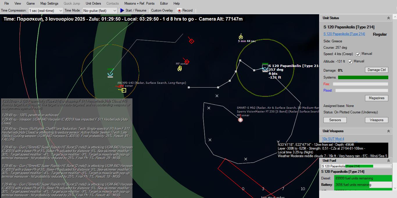 Ενας από τους πυραύλους UGM-84 Harpoon χτύπησε βαθειά μέσα στο σκάφος της Milgem επιτυγχάνοντας 100% διάτρηση. Φωτιές ξέσπασαν σε όλο το πλοίο