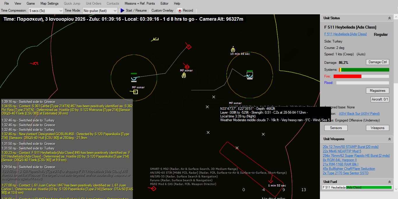 Επομενος στόχος το αεροπλανοφόρο Anadolu (!). H γεωμετρία της επίθεσης από τα δύο πλευρά θα αυξήσει τις πιθανότητες για επιτυχία. Δυο όμως Τουρκικά υποβρύχια το ένα στα βόρεια σε διαπιστωμένη θέση και το άλλο στα νότια σε μη ακριβή θέση ερευνούν την περιοχή για να προστατέψουν το Anadolu. Στο παιχνίδι βρίσκεται και ένα αδιευκρίνιστου ίχνους πλοίο δίπλα στον Ματρόζο καθώς και η φρεγάτα ΜΕΚΟ 200 Salihreis του Τουρκικού Ναυτικού