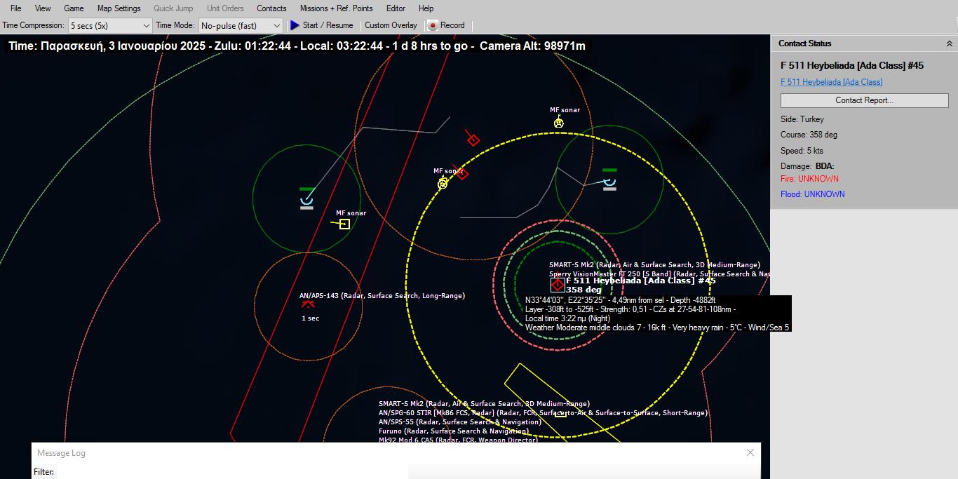 5 λεπτά μετά αναγνωρίζεται σε απόσταση 11 ναυτικών μιλίων νότια μια κορβέτα κλάσεως Milgem. Λόγω της γεωμετρίας της διάταξης των ναυτικών δυνάμεων, της καταστροφής της Perry που παρείχε AAW κάλυψη και του μοναδικού συστήματος RAM της Milgem, της εν δυνάμει απειλής της Milgem που εκτελούσε ASW αποστολή, το Υποβρύχιο Παπανικολής αποφάσισε εκτιθέμενο για λίγο να εμπλέξει με τέσσερις πυραύλους Harpoon την Τουρκική κορβέτα στα νότια