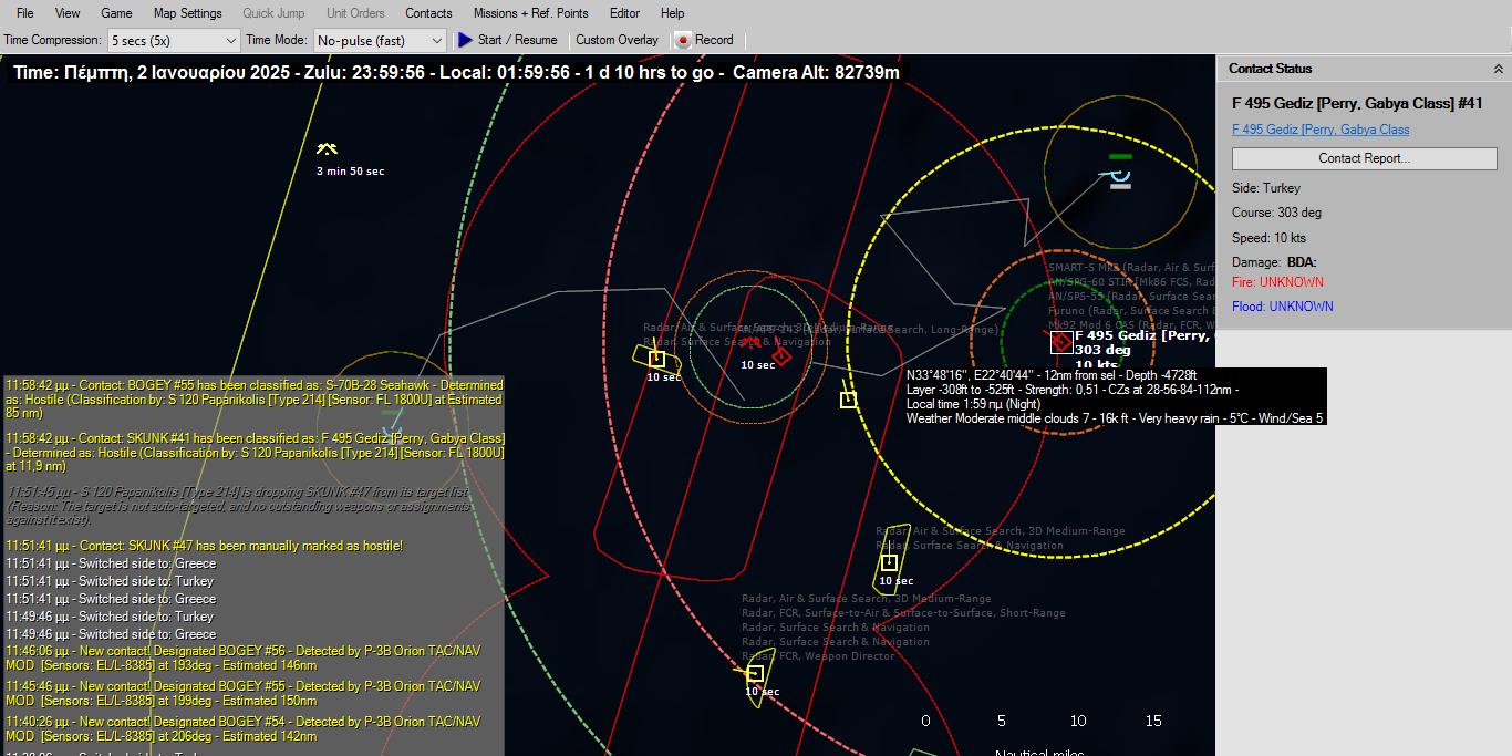 Μιση ώρα μετά το Παπανικολής ταυτοποιεί σε απόσταση 11 ναυτικών μιλίων το πλοίο μπροστά του ως φρεγάτα Perry, μέσω της συσκευής ELINT FU-1800U που διαθέτει. Γνωρίζοντας ότι η φρεγάτα αυτή φέρει σόναρ αλλά πιθανότατα να έχει ρόλο AAW ο κυβερνήτης του υποβρυχίου Παπανικολής επιλέγει την επίθεση εναντίον του με τορπίλη SUT mod4. Ταυτόχρονα καθώς διακρίνεται 10 δευτερόλεπτα πριν απογείωση στρατιωτικού ελικοπτέρου που ενεργοποίησε το σύστημα ραντάρ και σόναρ του από την επαφή SUKNK 47 αυτή κρίθηκε από τον κυβερνήτη του υποβρυχίου Παπανικολής ως εχθρική