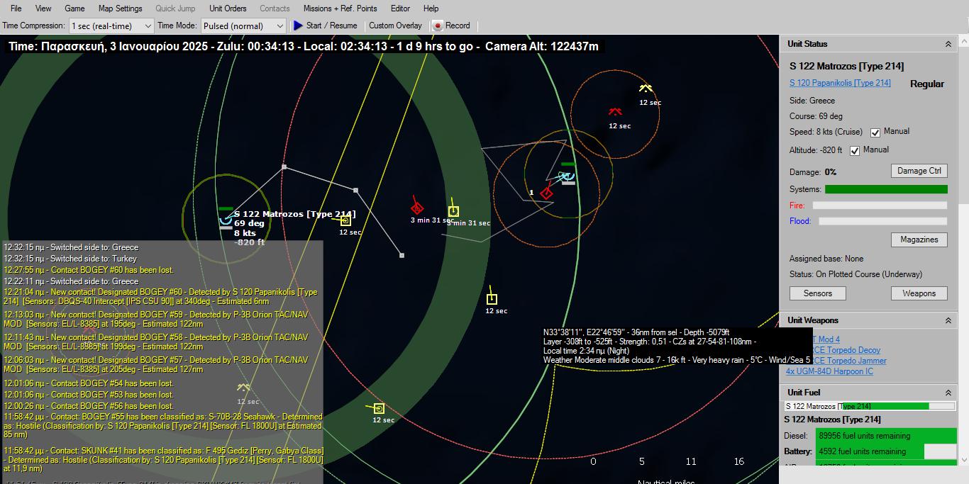 12 λεπτά και ενώ ο Παπανικολής έπεσε σε βάθος 820 ποδών για να αποφύγει τον εντοπισμό, έφτασε σε ικανή απόσταση βολής (2.7 ναυτικών μιλίων) εκτοξεύοντας διαδοχικα τρεις τορπίλες SUT mod4 κατά της φρεγάτας Perry. Η τελευταία ανίχνευσε την εκτόξευση των τορπιλών και εκτελεί ελιγμούς διαφυγής αυξάνοντας στην μέγιστη ταχύτητα και απομακρυνόμενη από την κατεύθυνση της τορπίλης